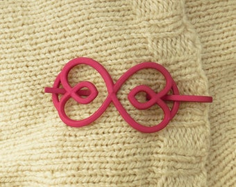Hearts - Plum Colored 3D Printed Shawl Pin | Shawl Pin | Sweater Closure | 3D printed accessories