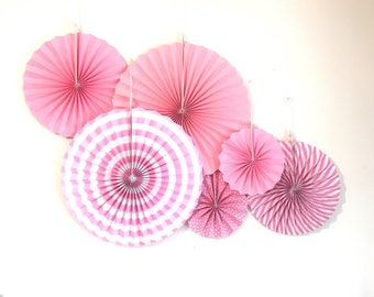 6 pcs set pink stripe polkadots paperfan rosette photo party backdrop for baby shower birthday Bachelorette party home decor nursery room
