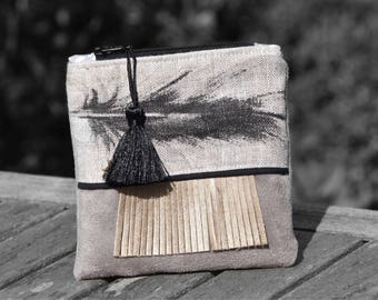 Wallet feathers suede and linen feathers - boho purse - wallet - wallet - coin purse boho - feather coin purse Bohemian