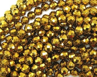 "6mm faceted gold hematite round beads 15.5"" strand 33973"