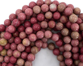 "12mm pink rhodonite round beads 15.5"" strand 39402"