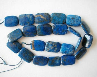 "A 18mm lapis lazuli rectangle beads 16"" strand S1 10967"