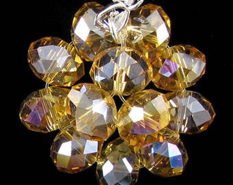 37mm faceted rainbow crystal rondelle pendant bead citrine 17230