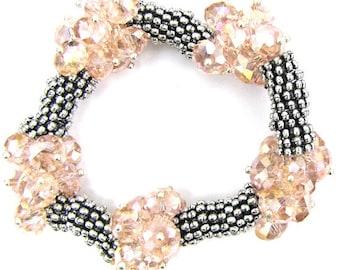 "Crystal silver plated daisy stretch bracelet 7"" pink 11839"
