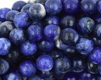 """8mm faceted blue sodalite round beads 15"""" strand 36800"""