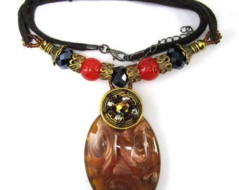 """Light brown lampwork glass oval pendant necklace 16"""" 34900"""