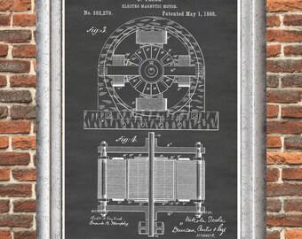 Tesla Poster, Tesla Print, Nikola Tesla Patent Print, Tesla Electro Magnetic Motor, Tesla Wall Art, Tesla Patent, Tesla Patent Poster P188