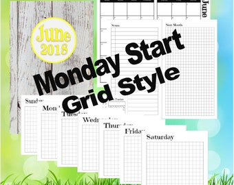 A6 - June, Dutch Door Travelers Notebook Printable Insert, Day on 1 page, Monday Start, Grid Style