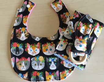 Cats in Flower Crowns Baby Bib Burp Cloth Teether