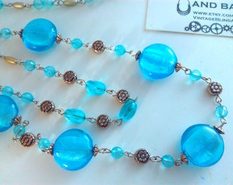 73cm twin strand Vintage blue glass bead necklace, vintage necklace, blue necklace, vintage blue necklace, blue glass necklace, blue beads