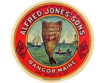 Alfred Jones & Sons Celebrated Finnan Haddie Jar Label
