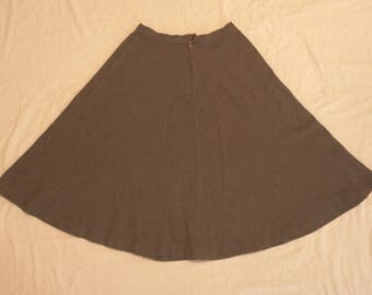 Pair of 1950's A-Line Swing Skirts - Brown / Charcoal Gray - Wool Blend - Size 6