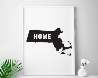 MASSACHUSETTS home decor Massachusetts wall decor Massachusetts wall art Massachusetts state map print MA state map art