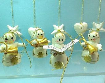 Vintage Christmas ornaments, hand painted wood, angel musicians + hearts and stars, white gold miniature Christmas tree ornaments Lot13