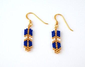 Pen - blue - gold plated earrings