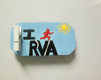 I Run RVA magnet, hand painted wooden magnet clip