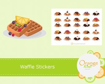 Waffle Stickers, Breakfast Stickers, Meal Planning Stickers, Planner Stickers, Erin Condren Life Planner