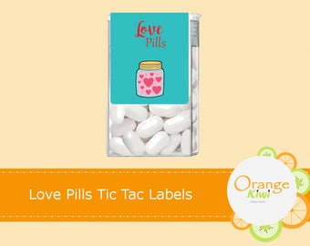 Love Pills Tic Tac Labels, Valentine's Day Tic Tac Stickers, Happy Valentine's Day Tic Tac Stickers