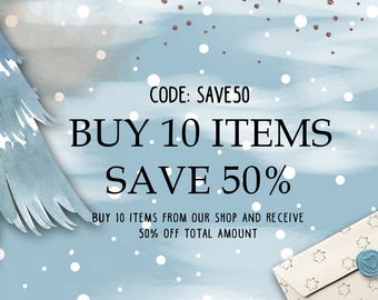 COUPON Buy 10 items and receive 50% off