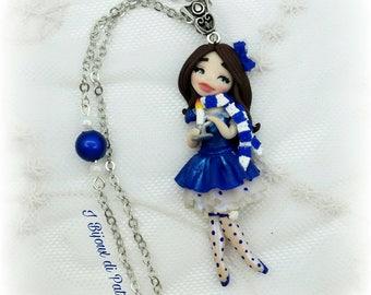Collana dollina blu con candela