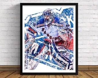 "New York Rangers | Henrik Lundqvist | 11"" x 14"" / 16""x 20"" Art Print | Perfect Gift for Hockey Lovers"