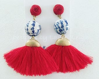 RED Chinoiserie Tassel Earrings | blue and white, gold, Designs by Laurel Leigh, fan, fringe, post earrings