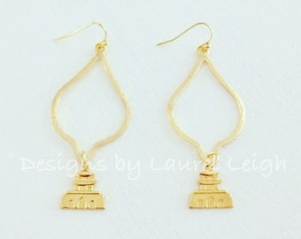 GOLD Pagoda Earrings | Chinoiserie, lightweight, dangle, drop, Designs by Laurel Leigh