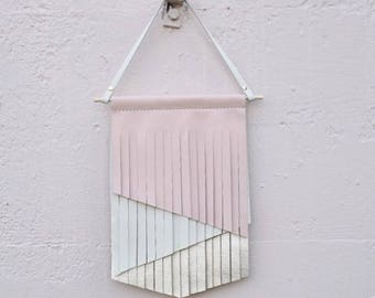 RTS- Leather Bow Hanger, Wallhanging, Leather Wallhanger, Nursery Art, Nursery Wall Hanging, Kids Art, Pink and cream, Monochrome Wallart