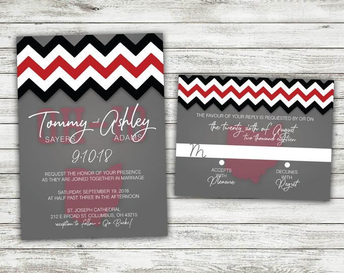 OHIO football Wedding Invitations Set Printed, Scarlet and Gray Invitation, OH-IO, Sports, Buckeyes, Horseshoe Stadium, College Colors, Team