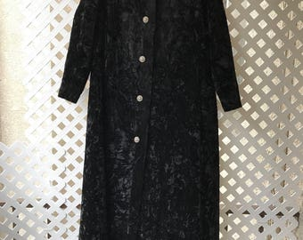Perfect Long Vintage Black Genuine Velvet Fur Coat Women's Size Small.