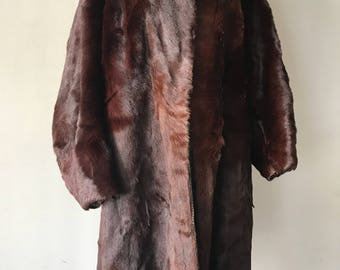Burgundy goat fur coat vintage style woman size medium .