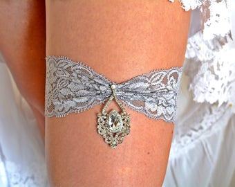 Bridal Garter Grey, Lace Garter Set, Grey Bridal Clothing, Grey Wedding Gift, Retro Garter, Garter Set Grey, Crystal Garters, Lace Garters