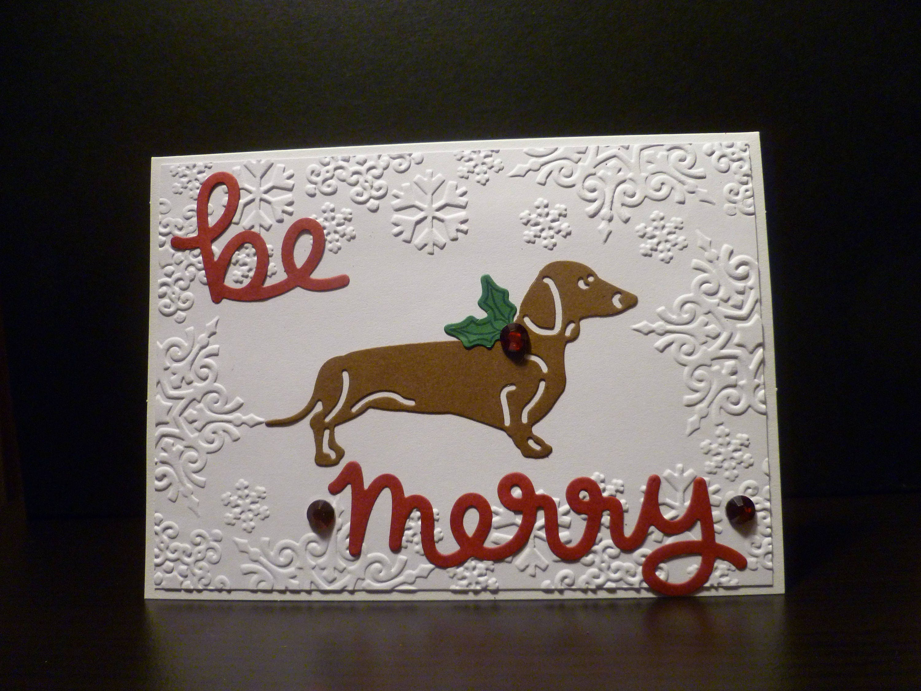 Handmade dachshund christmas card be merry brown dachshund dog handmade dachshund christmas card be merry brown dachshund dog christmas pet christmas kristyandbryce Image collections