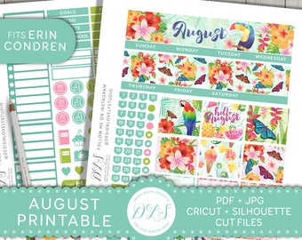 August Monthly Kit Printable, August Monthly Stickers, August Monthly EC, August Monthly Planner Printable Kit, Tropical Planner Kit,  MV133