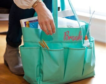 Monogram Carryall, Monogram Utility Tote, Personalized Teacher Gifts, Personalized  Garden Caddy, Personalized