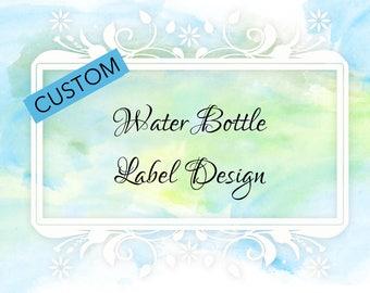 RESERVED: Custom Water Bottle Label Design & Envelope
