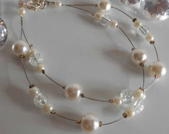 Duo elegant wedding bracelet ivory pearls