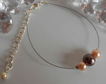 Simple Brown and cream wedding bracelet