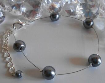 Simplicity wedding bracelet beads anthracite grey