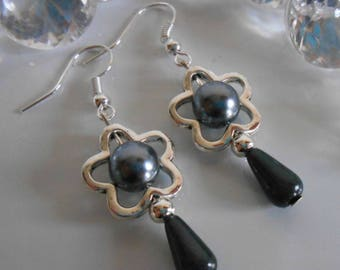 """Spring blossom"" charcoal grey dangle earrings"