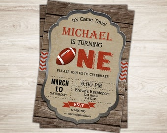Football First Birthday Invitation. Football 1st Birthday Invite. Printable Football Invitation. Sports Football Party Invite. Rustic Wood
