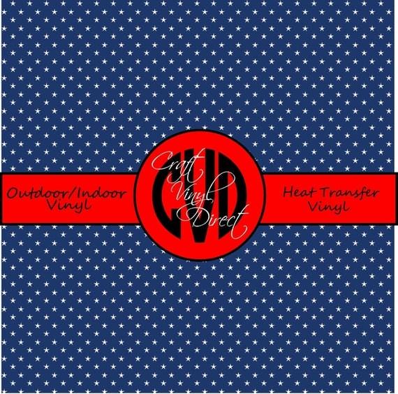 Navy Star Patterned Vinyl // Patterned / Printed Vinyl // Outdoor and Heat Transfer Vinyl // Pattern 695
