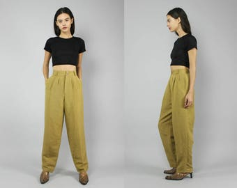 80s mustard linen high waist baggy chino pleated pants M L