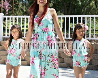 Adorable, Spring,mommy and me, matching outfits,baby girl romper,mother daughter,matching dresses, floral dresses,mommy and me outfits, maxi