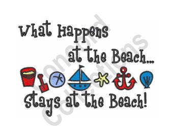 What Happens.... - Machine Embroidery Design, Beach - Machine Embroidery Design