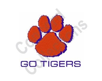 Paw Print - Machine Embroidery Design, Go Tigers - Machine Embroidery Design