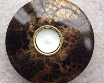 Steampunk, Unique, Hand turned, hand decorated tea light holder