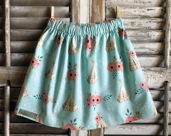 Turquoise teepee skirt, infant/toddler/girl skirt, handmade clothing