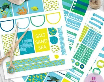 Sea, Turtle and Fish printable planner stickers,  Sea Life BIG MAMBI Happy planner, Monthly / Weekly Kit, big happy Instant download