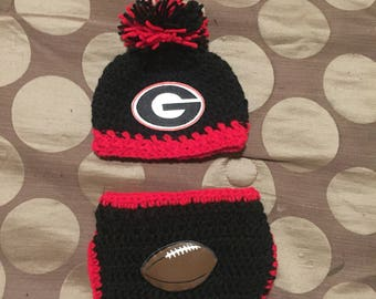 Georgia bulldogs beanie and diaper cover